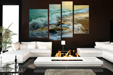 4 piece photo canvas, living room canvas, green ocean huge canvas art, waves wall art