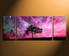 3 piece group canvas, home decor, purple sky multi panel art, scenery tree artwork, panoramic canvas photography, scenery art