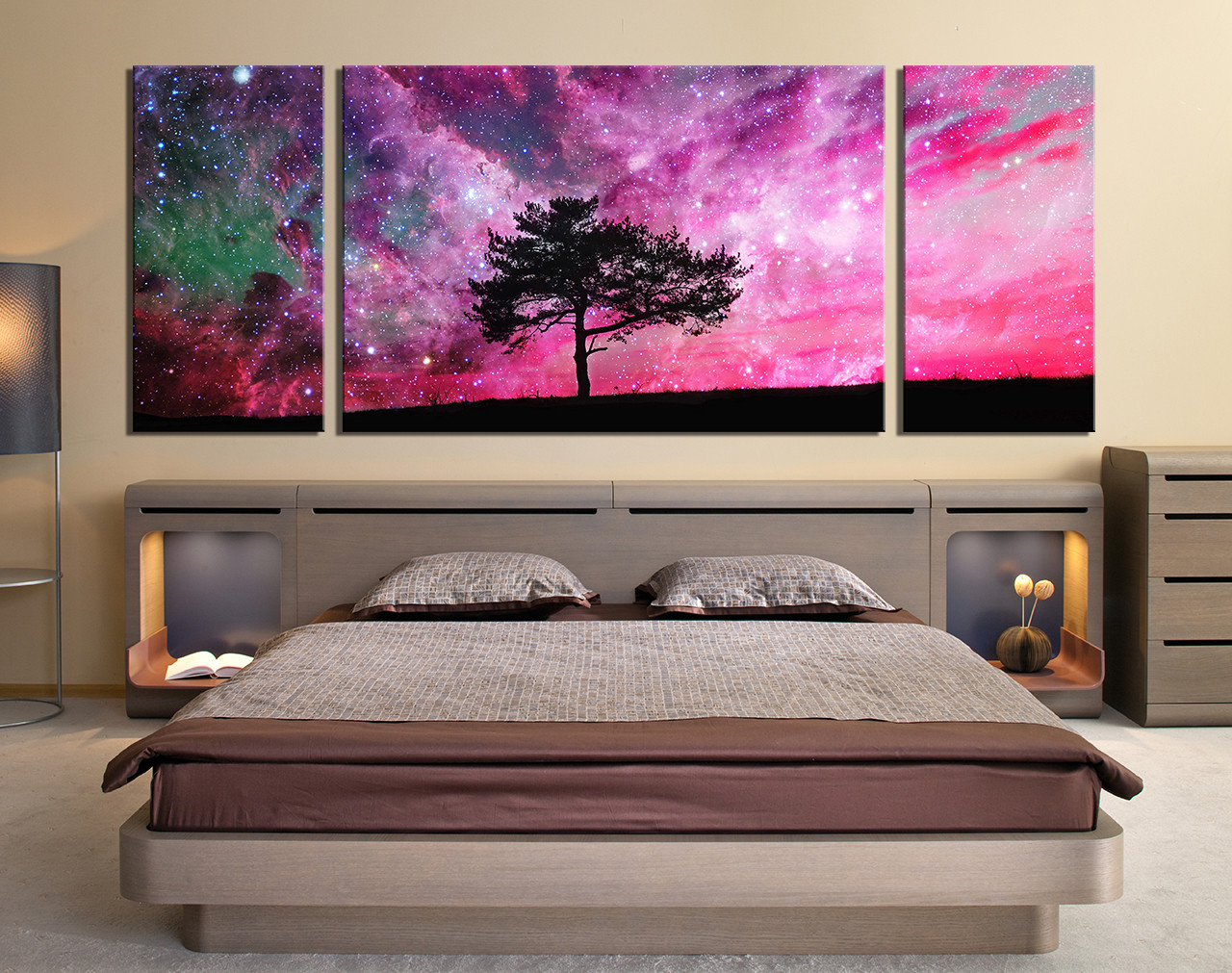 3 Piece Artwork, Purple Wall Art, Tree Photo Canvas, Stars Large Canvas,  Nature Canvas Photography, Scenery Huge Canvas Art, Panoramic Wall Decor