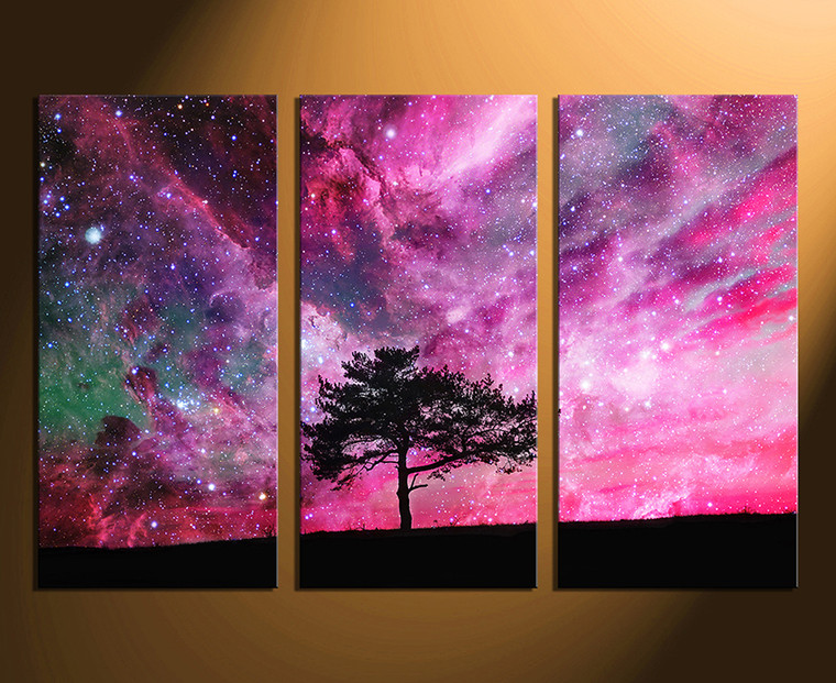 3 piece canvas wall art, home decor, scenery canvas print, purple wall art, tree artwork