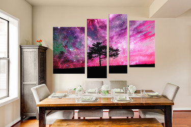 4 piece huge canvas art, dining room huge pictures, scenery art, purple wall art, tree canvas photography