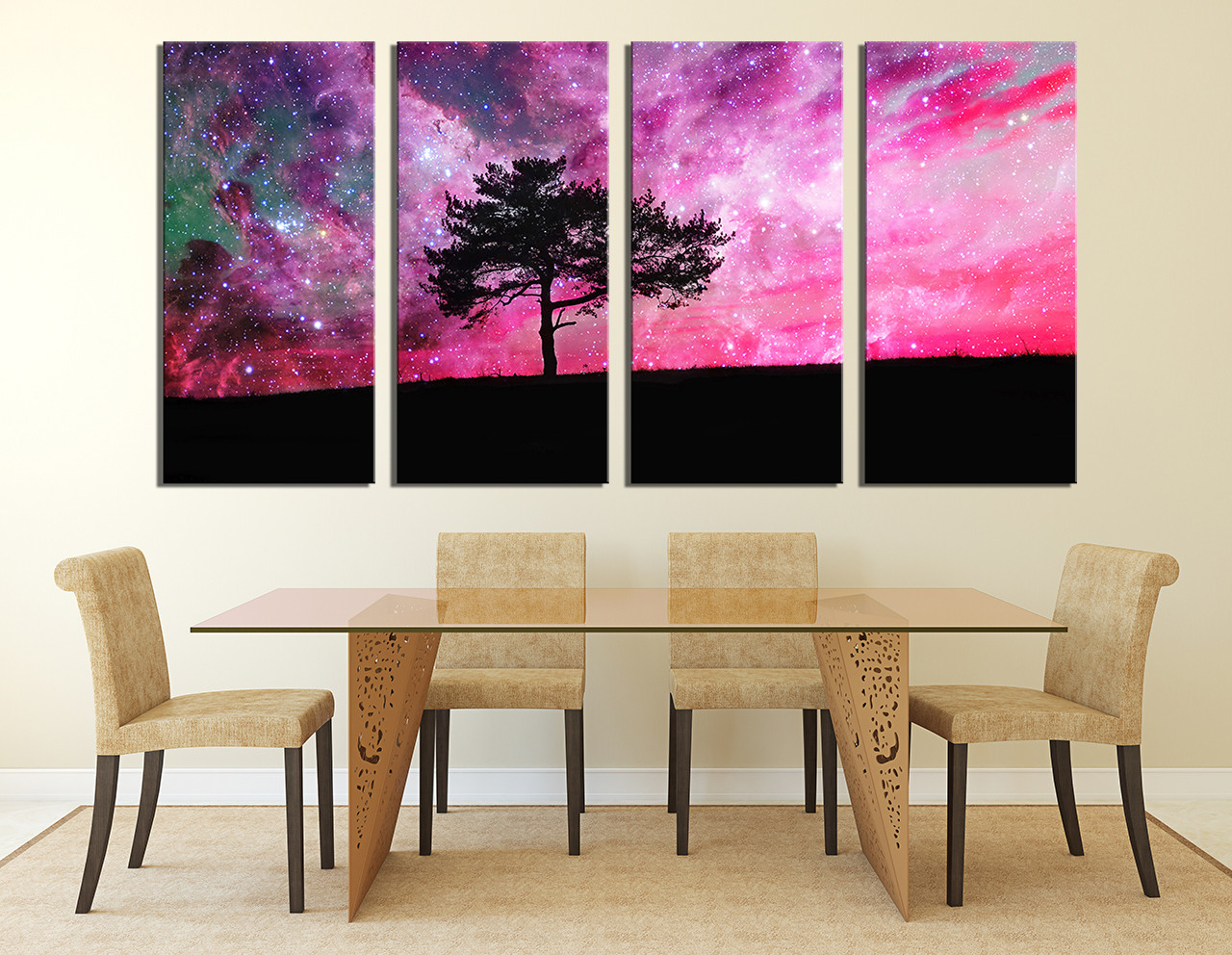 4 Piece Canvas Wall Art, Tree Canvas Photography, Purple Canvas Art Prints,  Nature Multi Panel Canvas, Scenery Wall Decor