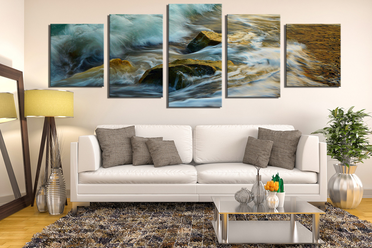 5 piece canvas wall art, green sea canvas print, panoramic multi