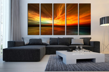 5 piece huge canvas art, living room huge canvas art, ocean canvas photography, orange multi panel canvas