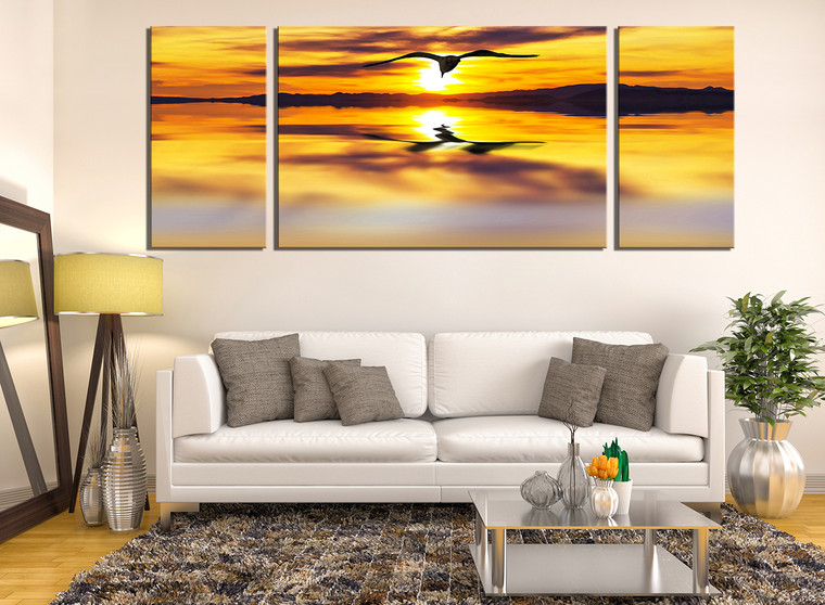 3 piece canvas wall art, living room wall decor, yellow canvas photography, bird canvas print, panoramic large pictures