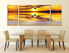 3 piece multi panel canvas, dining room canvas photography, yellow wall decor, bird canvas wall art, panoramic huge canvas art