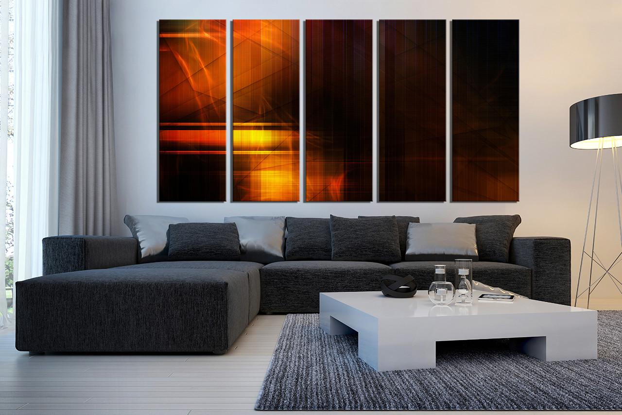 5 piece large canvas abstract canvas wall art orange multi panel canvas modern canvas art prints