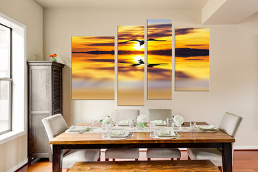 4 piece photo canvas, dining room huge canvas art, wildlife wall decor, bird large pictures, yellow artwork