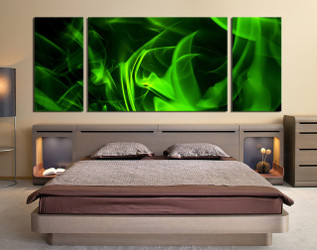 3 piece large pictures, bedroom huge pictures,  panoramic green canvas wall art, bedroom green art