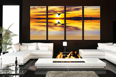 4 piece large canvas, living room huge canvas print, wildlife wall art, bird huge pictures, yellow art