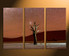 3 piece huge canvas print, home decor, landscape art, brown large canvas, mountain huge canvas art, tree huge pictures