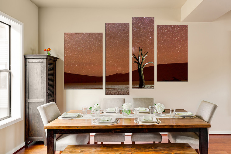 4 piece photo canvas, dining room group canvas, landscape huge canvas art, brown art, mountain canvas print, tree canvas art prints