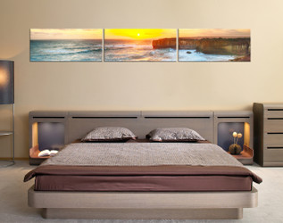 3 piece huge pictures, yellow artwork, ocean photo canvas, sunrise canvas art prints, bedroom group canvas