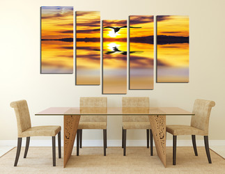 5 piece multi panel art, dining room large pictures, wildlife wall art, yellow wall decor, bird wall decor