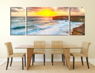 3 piece artwork, ocean wall decor, yellow canvas art prints, dining room canvas wall art, sunrise photo canvas