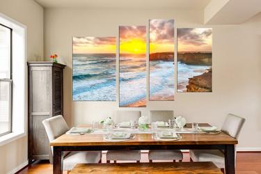 4 piece artwork, dining room canvas print, yellow sea group canvas, ocean wall decor, ocean huge canvas art
