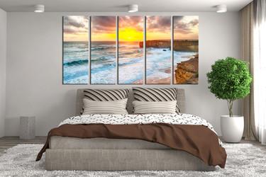 5 piece large pictures, bedroom photo canvas, sea sunrise wall art, ocean multi panel art, yellow canvas print