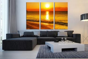 3 piece wall decor, living room huge canvas art, orange sea multi panel canvas, sunrise huge pictures
