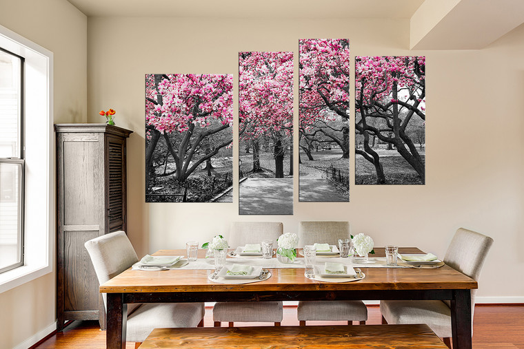 4 piece canvas wall art, dining room photo canvas, scenery multi panel canvas, grey artwork, tree canvas photography