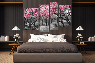 4 piece photo canvas, bedroom huge canvas print, grey art, scenery canvas print, tree huge canvas art