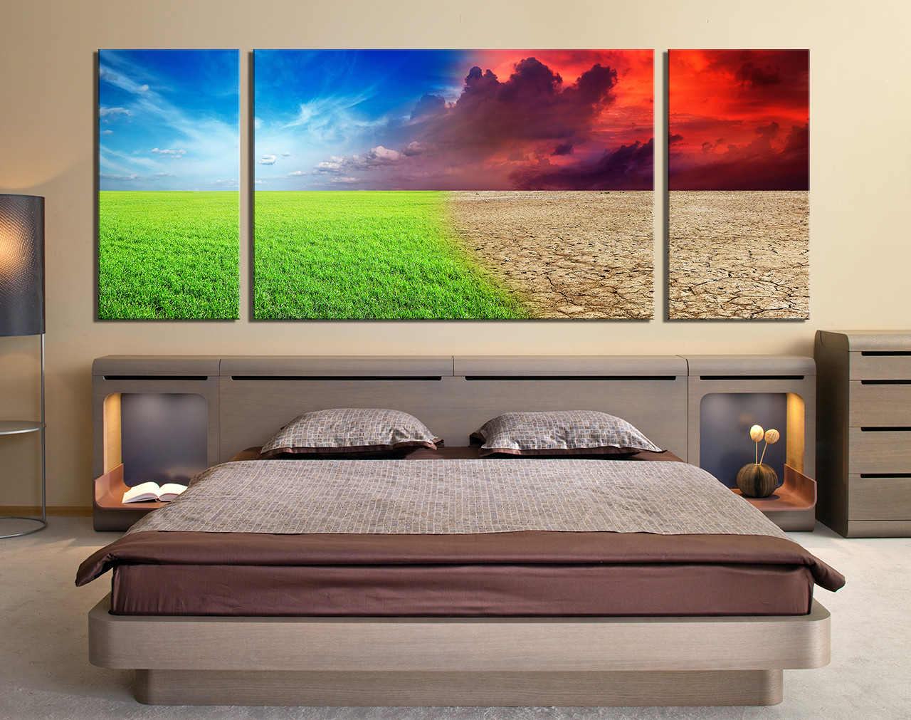 3 Piece Large Canvas, Bedroom Canvas Wall Art, Scenery Wall Decor, Colorful  Large