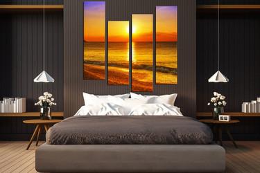 4 piece large pictures, bedroom multi panel canvas, sunrise wall decor, orange sea group canvas