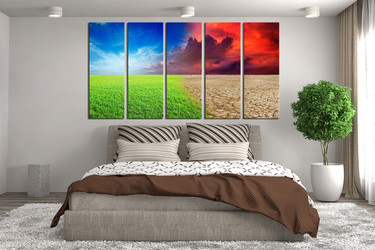 5 piece canvas print, bedroom huge canvas print, scenery colorful  large canvas, scenery huge pictures