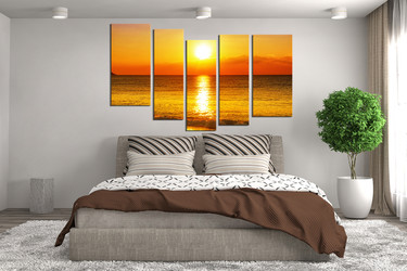 5 piece huge pictures, bedroom huge canvas print, sunrise wall decor, orange ocean multi panel canvas