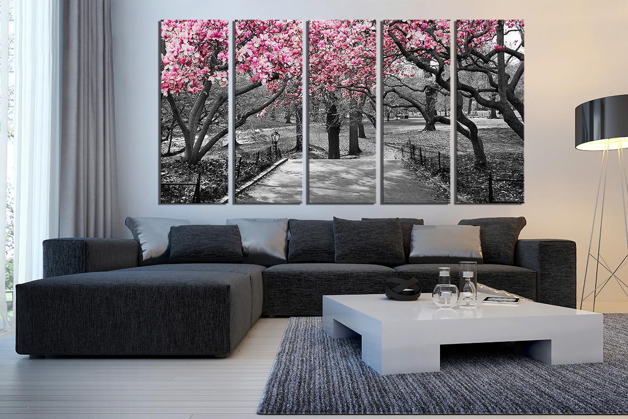 5 Piece Canvas Wall Art Grey Huge Canvas Print Scenery