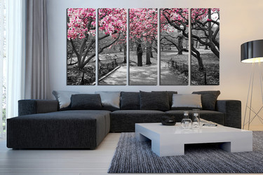 5 piece canvas photography, living room multi panel canvas, scenery group canvas, grey huge canvas art, tree artwork