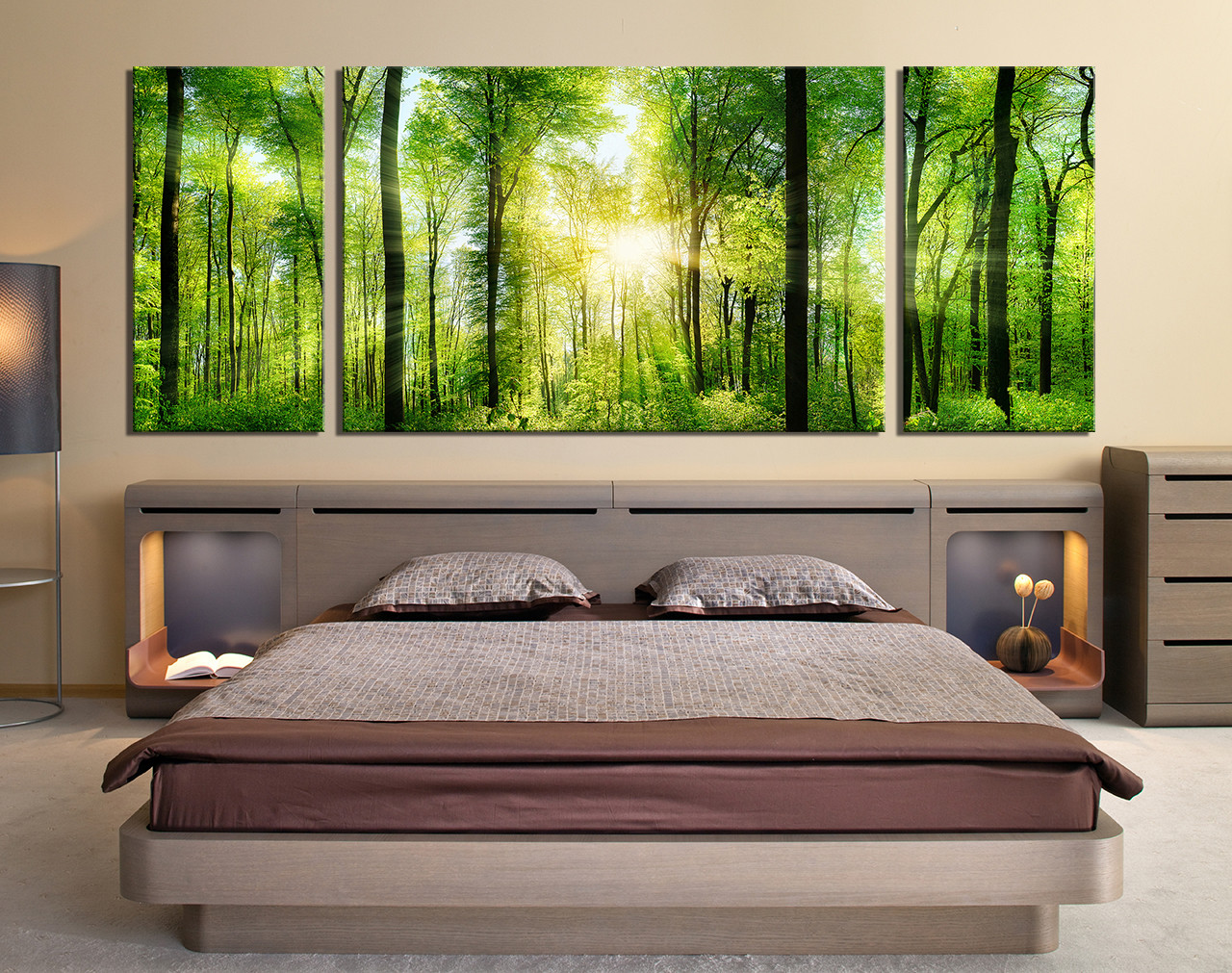 3 Piece Wall Decor, Panoramic Huge Canvas Print, Sunshine Multi Panel Art,  Green Group Canvas, Trees Artwork, Nature Large Canvas