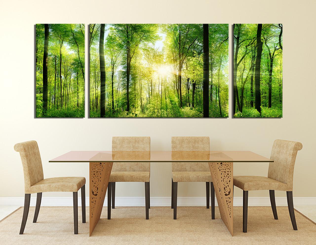 3 piece wall decor panoramic huge canvas print sunshine multi panel art green group canvas trees artwork nature large canvas