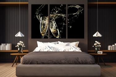 3 piece canvas wall art, bedroom wall decor, champagne multi panel canvas,  kitchen multi panel art