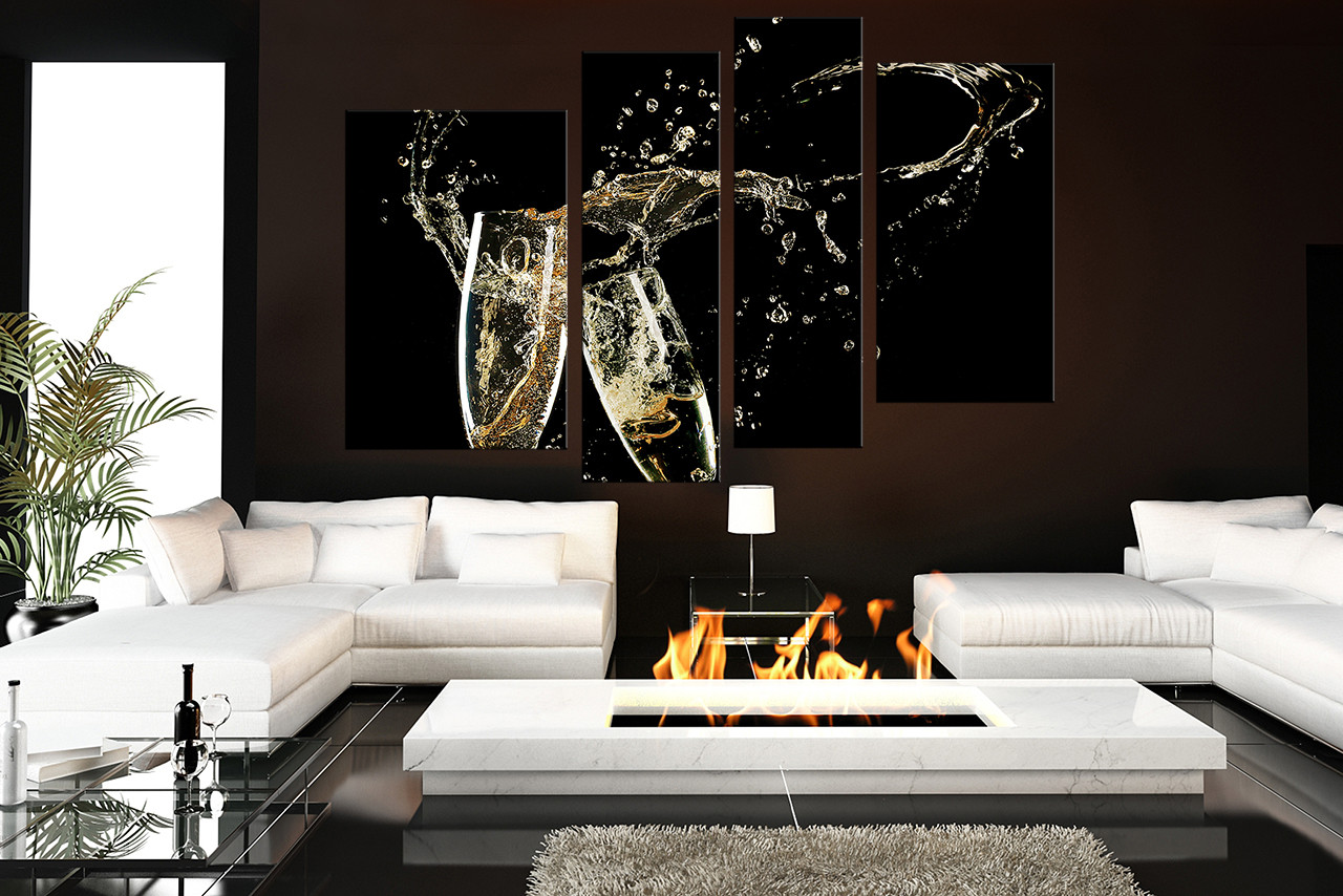 4 Piece Canvas Wall Art Black Large Canvas Champagne Multi Panel Art Flute Glass Canvas Photography Drinks Huge Canvas Print