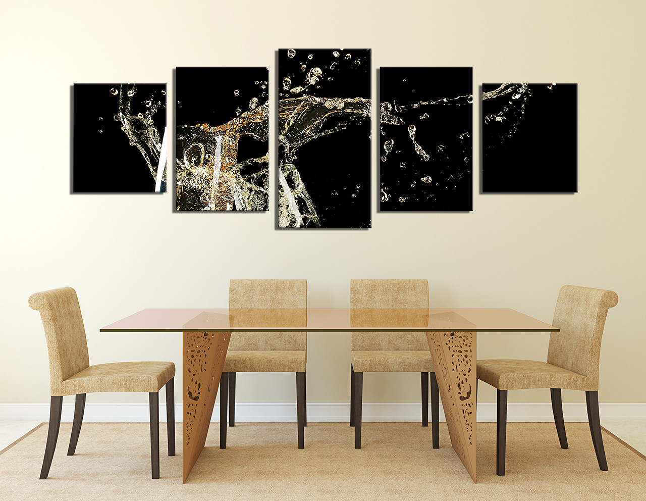 5 Piece Wall Decor Panoramic Huge Canvas Print Champagne Multi Panel Flute Glasses Art Prints Drinks Group