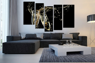 5 piece wall art, champagne large pictures, living room wall art, champagne landscape photo canvas, kitchen multi panel art