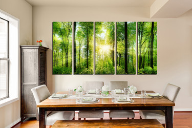 5 piece multi panel art, dining room canvas photography, scenery group canvas, green canvas print, nature canvas photography