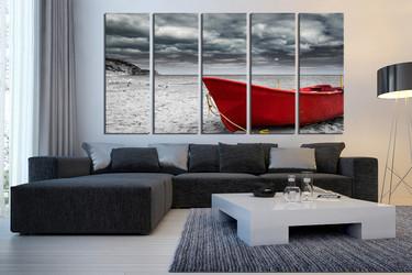 5 piece huge canvas art, grey ocean multi panel art, red boat wall art, mountain canvas wall art, living room wall decor