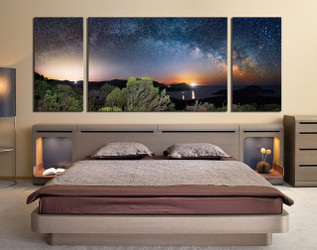 3 piece large canvas, bedroom canvas art prints, blue wall art, stars huge canvas print, panoramic large pictures