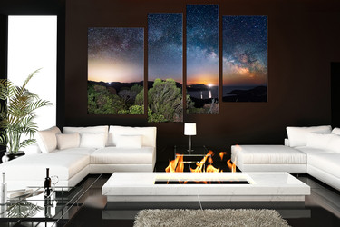 4 piece large pictures, living room artwork, scenery wall decor, blue multi panel canvas, stars huge canvas art