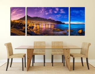 3 piece canvas art prints, mountain canvas print, blue ocean photo canvas, landscape huge canvas art, dining room art