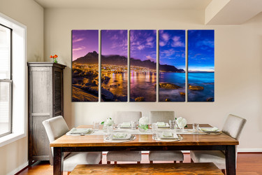 5 piece canvas wall art, mountain art, blue ocean photo canvas, dining room artwork, landscape canvas print