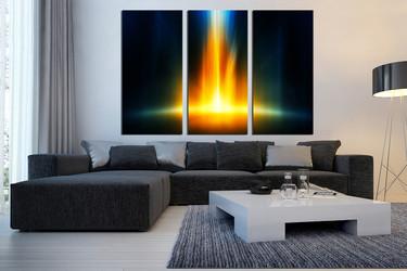 3 piece canvas wall art, living room wall art, yellow wall decor, abstract canvas print, modern huge canvas print