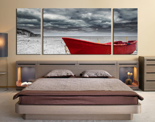 3 piece wall art, mountain huge canvas print, red boat wall decor, ocean canvas art prints, bedroom decor, grey large pictures