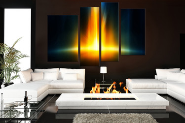 4 piece canvas wall art, living room wall art, yellow wall decor, abstract canvas print, modern huge canvas print