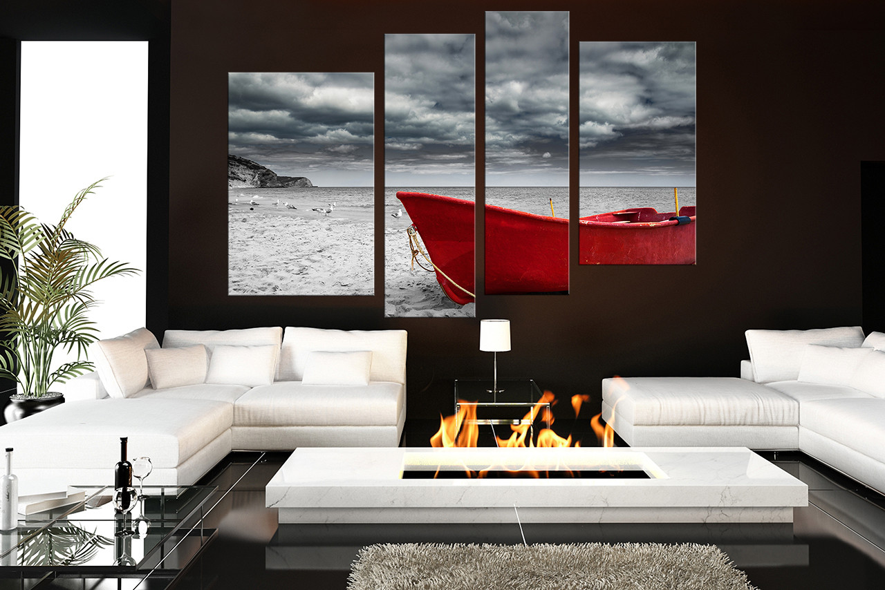 4 Piece Large Pictures, Red Boat Canvas Photography, Black and White Multi  Panel Canvas, Ocean Huge Canvas Art, Sea Wall Decor
