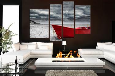 4 piece canvas wall art, ocean decor, grey artwork, mountain large canvas, living room artwork
