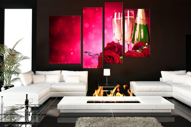 4 piece canvas print, living room canvas wall art, living room group canvas, champagne multi panel canvas, floral artwork
