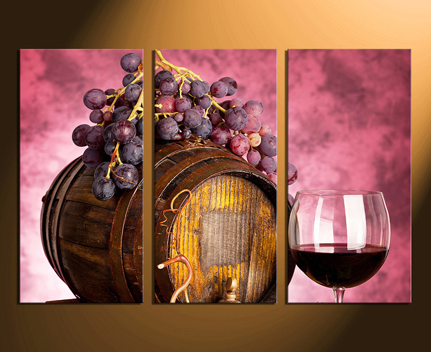 3 Piece Large Pictures Wine Artwork Grapes Wall Decor Barrel