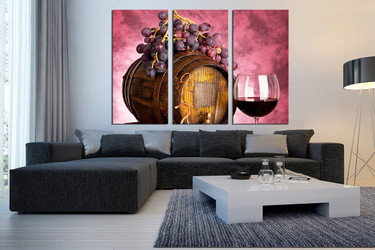 3 piece wall art, living room wall art, kitchen multi panel art, wine large pictures, fruits huge canvas art